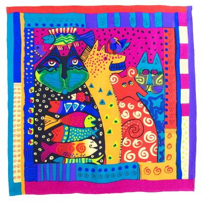 Foulard en soie satin fushia chats premium 90 x 90 cm