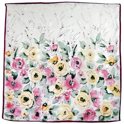 Carré de soie rose jaune flora