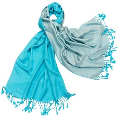 Etole pashmina bleu turquoise écru réversible