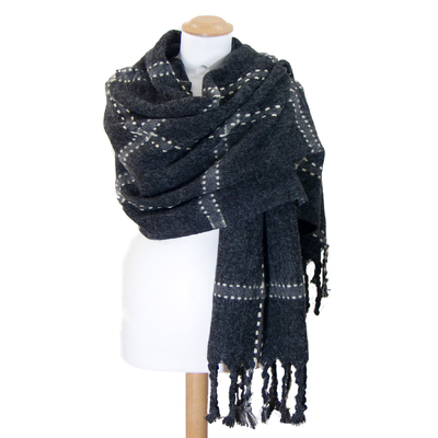 Châle laine gris carreaux surpiqués