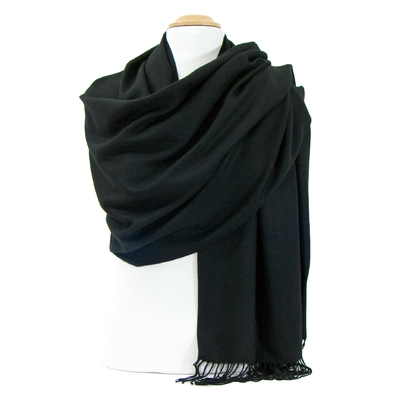Etole noir cachemire et laine
