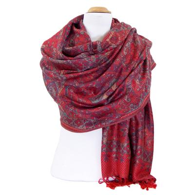 Etole pashmina rouge motifs baroques