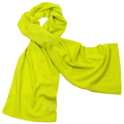 Echarpe en cachemire vert anis J adn W bords côtes