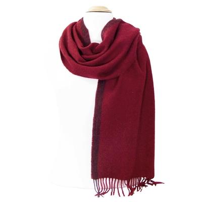 Echarpe en laine rouge bordeaux rayure