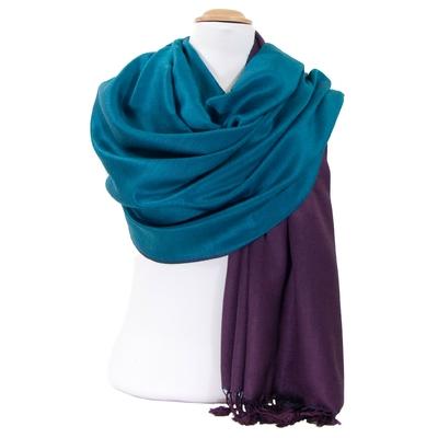 Etole pashmina violet bleu canard double face