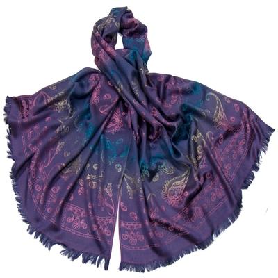 Etole en pashmina violet motifs dégradés