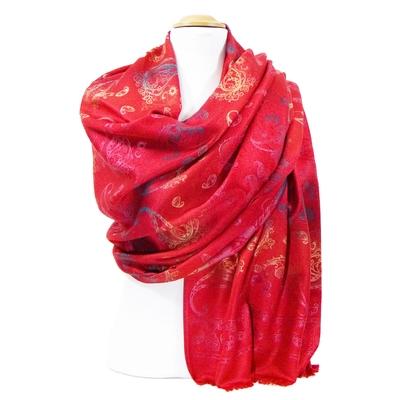 Etole pashmina rouge motifs dégradés
