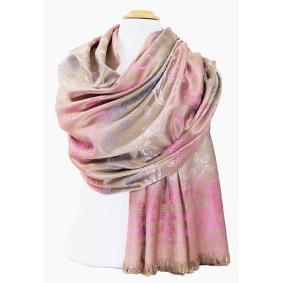 Etole en pashmina beige motifs dégradés rose