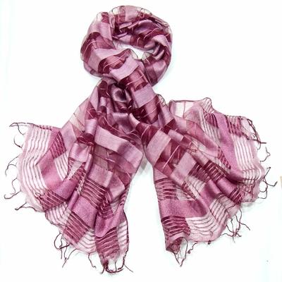 Etole rose en soie rayures organza