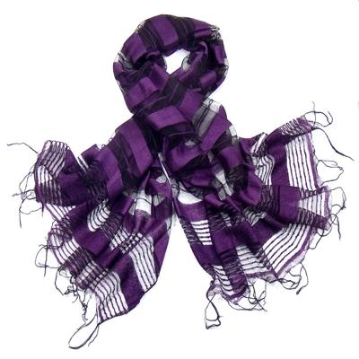 Etole violet en soie rayures organza