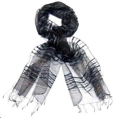 Etole organza de soie gris noir motifs dorés