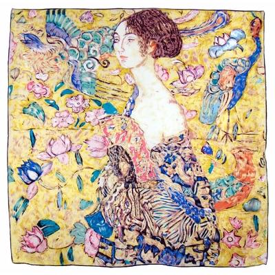 Carré de soie artysilk Gustave Klimt La dame à l'éventail