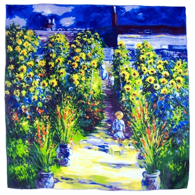 Carré de soie artysilk Claude Monet le jardin de Monet à Vertheuil
