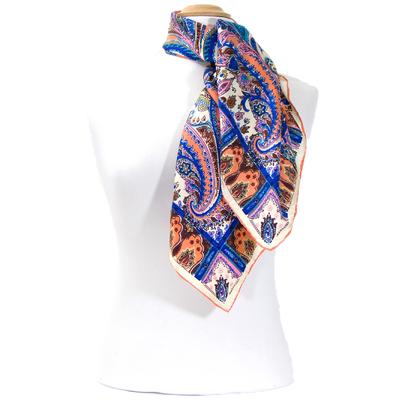 Foulard en soie satin bleu ajala premium 90 x 90 cm