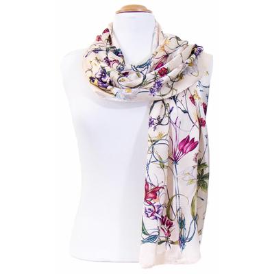 Foulard en soie beige rosé fleurettes