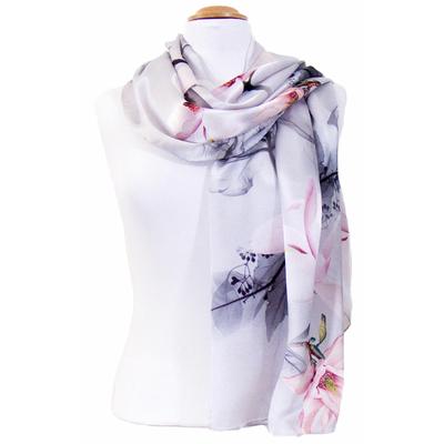 Foulard en soie gris fleurs roses