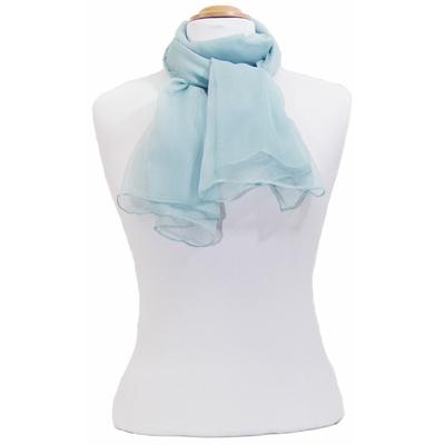Foulard bleu gris mousseline de soie