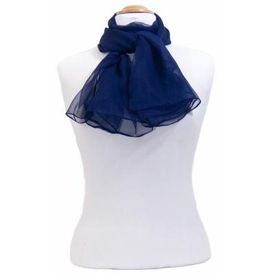 Foulard bleu marine mousseline de soie