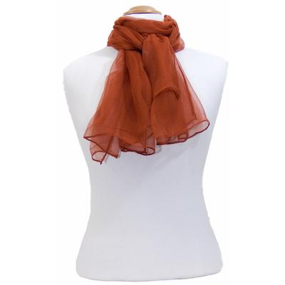 Foulard rouille mousseline de soie