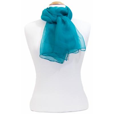 Foulard bleu canard mousseline de soie