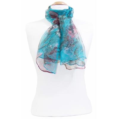 Foulard mousseline de soie bleu Flo