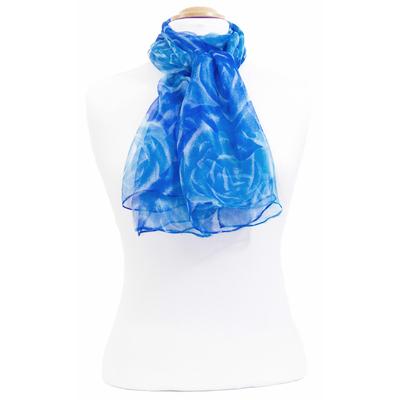 Foulard mousseline de soie bleu Rosa