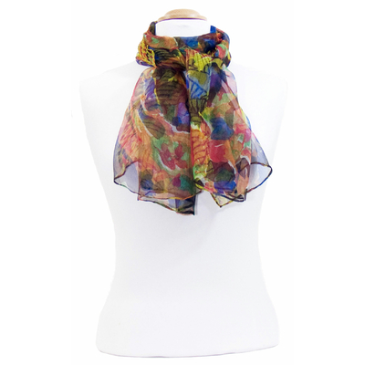 Foulard mousseline de soie orange Lorine