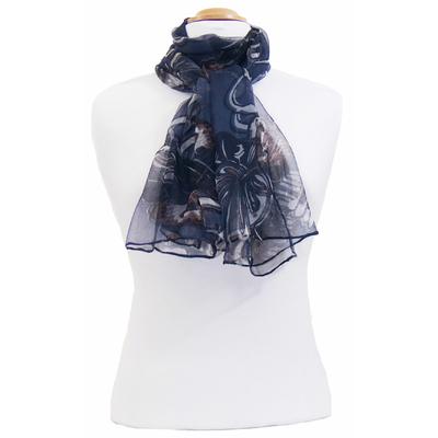 Foulard mousseline de soie bleu marine Lia