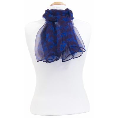Foulard mousseline de soie bleu Mia