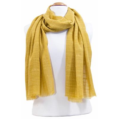 Foulard chèche jaune moutarde lin coton premium
