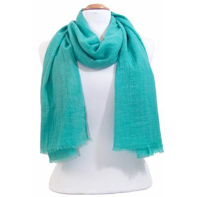 Foulard chèche vert eau lin coton premium