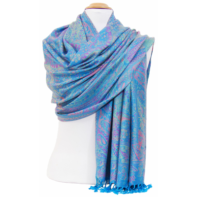 Etole bleu turquoise pashmina Angana