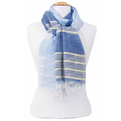 Foulard marine bleu ciel rayures lurex