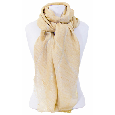 Foulard carreaux beige et or