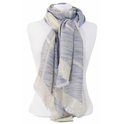Foulard carreaux bleu gris et or