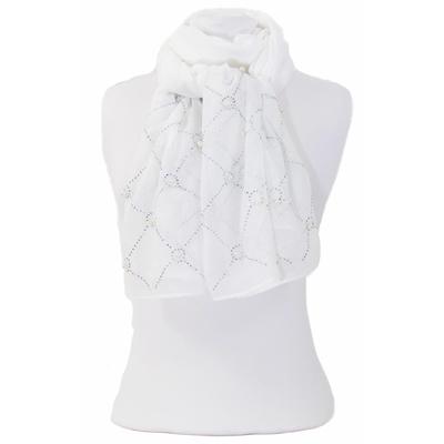 Foulard blanc strass et perles