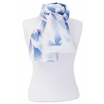 Foulard bleu fleurs paillettes or