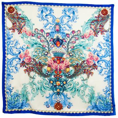Carré en soie bleu Catherine 105 x 105 cm premium
