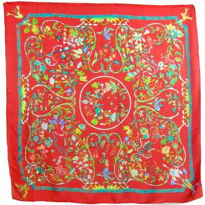 Carré en soie rouge bouquet 105 x 105 cm premium