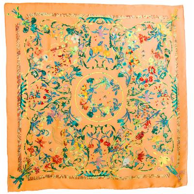 Carré en soie orange clair bouquet 105 x 105 cm premium