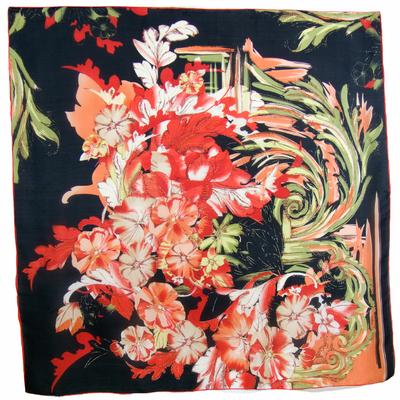 Carré en soie noir floralie 105 x 105 cm premium