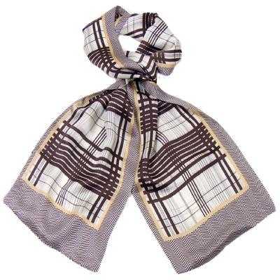 Foulard écharpe soie homme chocolat rayures