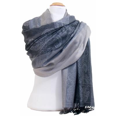 Etole pashmina gris rayures motifs cachemire