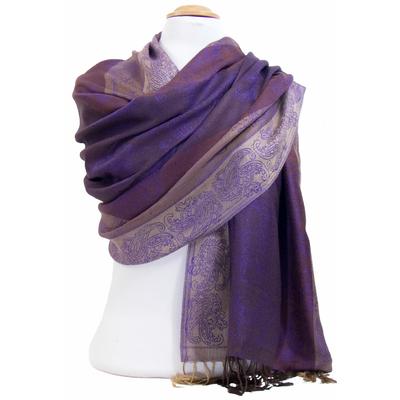Etole pashmina violet rayures motifs cachemire