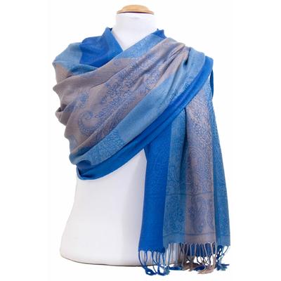 Etole pashmina bleu rayures motifs cachemire