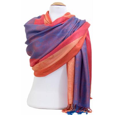 Etole pashmina orange bleu rayures motifs cachemire