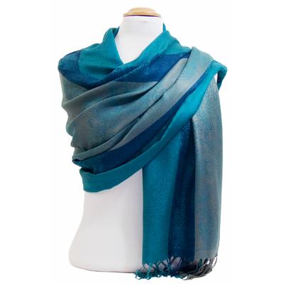 Etole pashmina bleu vert rayures motifs cachemire