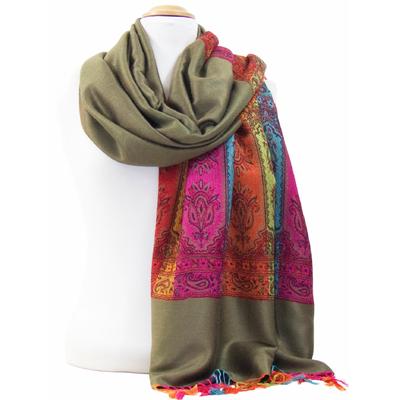 Etole pashmina kaki tissée motifs multicolores