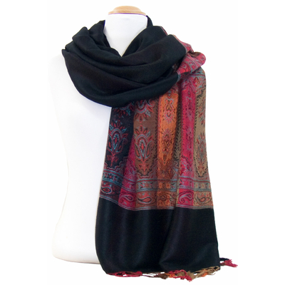 Etole pashmina noir tissée bandes multicolores