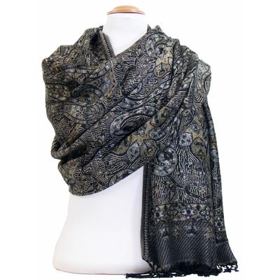 Etole pashmina noir motifs baroques